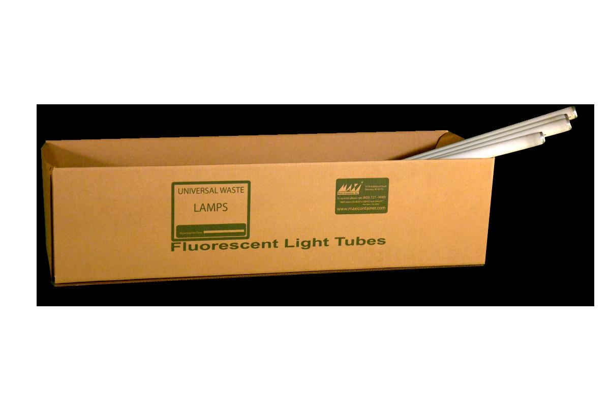 hazardous waste bags and boxes fluorescent light tubes boxes maxi contai. Black Bedroom Furniture Sets. Home Design Ideas